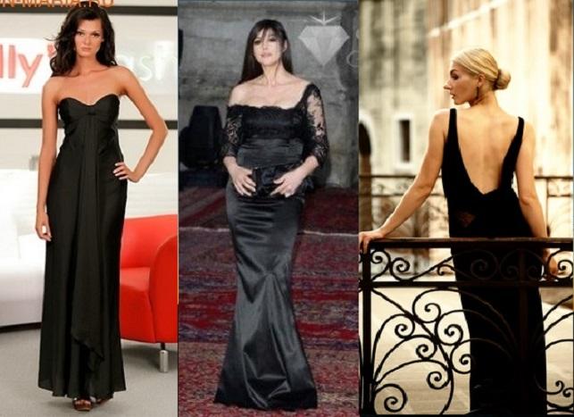 Длинное черное платье в пол