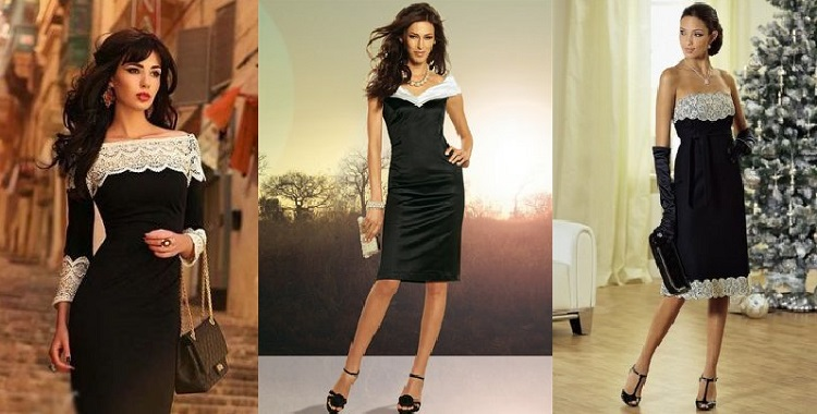 маленькое черное платье с белым